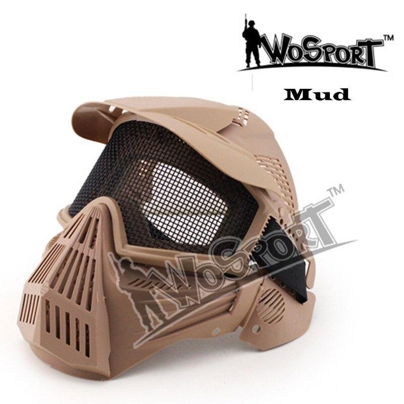 Masque de cyclisme d'air gratuit Protection de mouchoir en acier visage complet Airsoft armée tactique sport de plein Air hommes masques de Combat sécurité