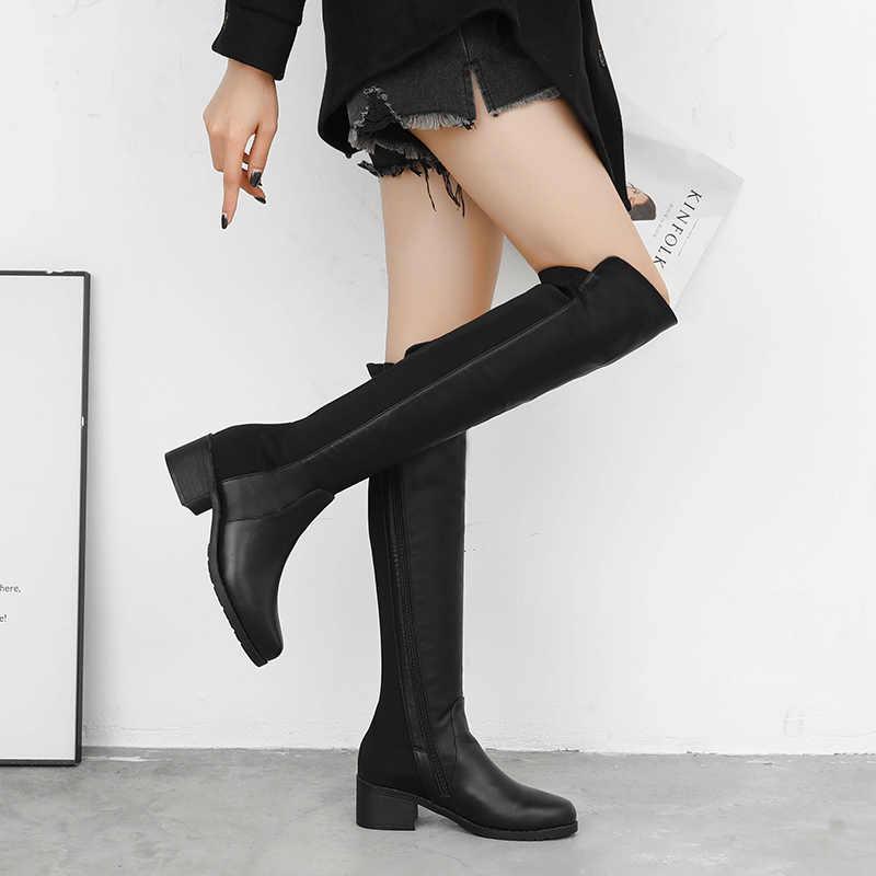 Femmes bottes mince Sexy sur le genou bottes mode daim et PU cuissardes femme bottes d'hiver Bota 2019