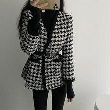 Винтажный элегантный модный клетчатый свитер кардиганы для женщин