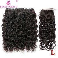 Brazilian hair weave bundles water wave bundles with closure 100% human hair 3 bundles with closure non remy hair extension