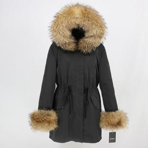 Image 4 - OFTBUY 2020 yeni uzun Parka kış ceket kadınlar için gerçek tilki kürk ceket doğal rakun kürk yaka Hood kalın sıcak Streetwear giyim