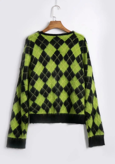 Vintage argyle knitted cardigans women sweaters kawaii mohair sweater winter korean sweater clothes 2020 new 5