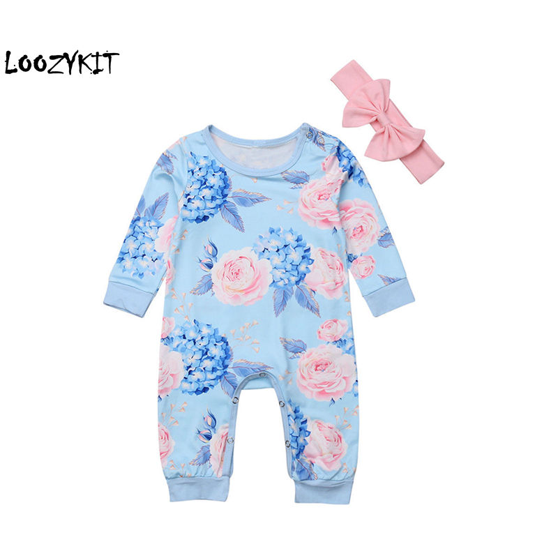 CYSINCOS 2Pcs Baby Rompers With Packet Toddler Baby Girl Floral Girls Clothes Jumpsuit Cotton Newborn Baby Clothes Outfit 0-24M