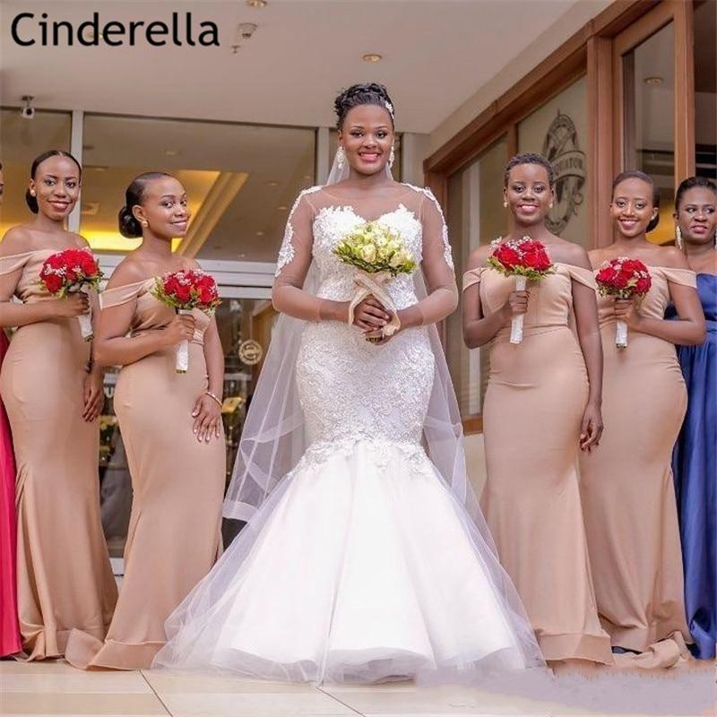 Champagne Bridesmaid Dresses Off The Shoulder Floor Length Sweep Train Silk Satin Mermaid Bridesmaid Dresses