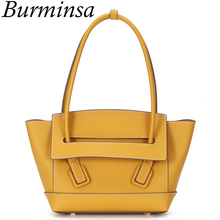 Burminsa Stylish Trapeze Women Genuine Leather Handbags Large Capacity Female Shoulder Bags High Quality Tote Bags Summer 2020 elviswords women large handbags shoulder bags creative dogs cat pattern high quality stylish for girls female large capacity new