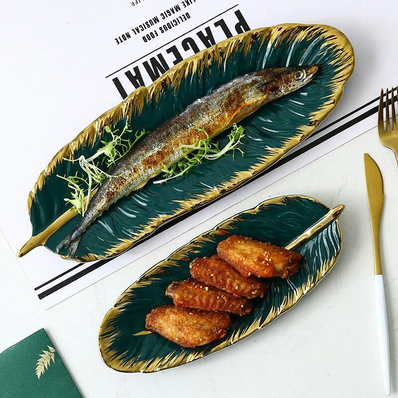 Assiette céramique feuille de banane verte   En forme de feuille de banane verte, chargeur en porcelaine d'or, entrée Dessert bijoux assiette vaisselle de table, Sushi