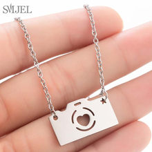 SMJEL Cartoon Camera Neckalce Pendants for Women Stainless Steel Cat Elephant Necklace Choker Femme Jewelry Gift Dropshipping(China)