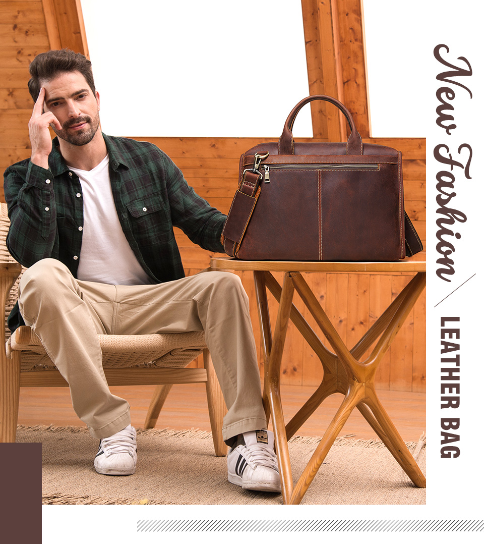 Men Briefcase Bag Leather Comfortable Laptop Handbag 2021 1