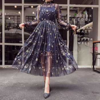 2020 New Navy Beige Starry Layered Tulle Long Dress Woman Fairy Spring Summer Embroidery Female Mid-length Net Yarn A-Line