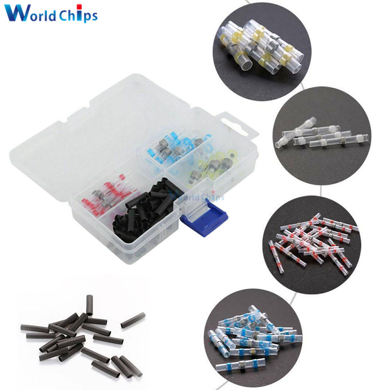 100pcs Heat Shrink Tube Sleeves Solder Seal Shrinkable Splice Waterproof Wires Connectors Cable Terminal Electrical Connector