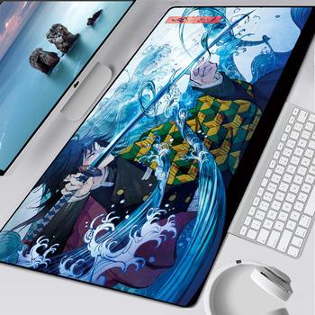 XL Anime Kimetsu nie Yaiba podkładka pod mysz HD drukuj gracz komputerowy zabezpieczona krawędź podkładka pod mysz XXL klawiatura myszki komputerowe maty Pad dla csgo tanie i dobre opinie MLLSE RUBBER Zdjęcie
