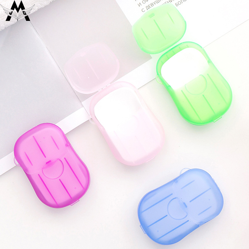MeiJiaG 20pcs/box Travel Disposable Soap Tablets Boxed Portable Hand Sanitizer Small Soap Tablets Mini Soap Paper Dish Tray