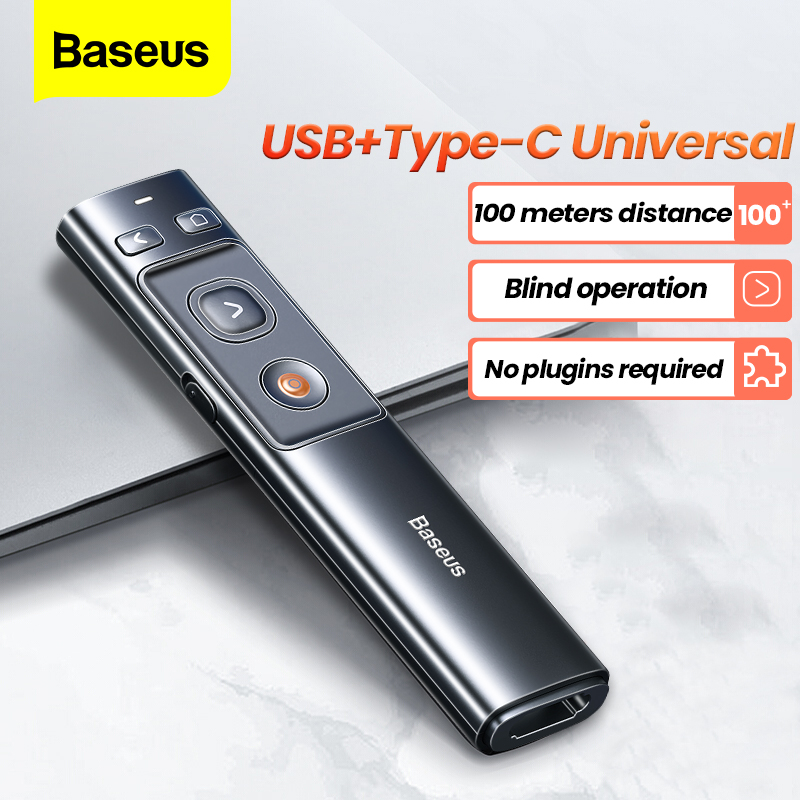 Baseus Penna Presentatore Senza Fili 2.4Ghz USB Adattatore C Palmare Telecomando Penna Puntatore Rosso PPT Presentazione Power Point Puntatore