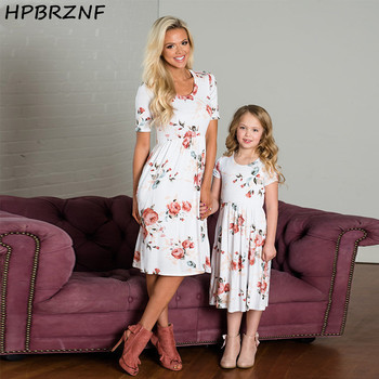 Mother Daughter Dresses 2020 Summer Short Sleeve Floral Print Pocket Knee Dress For Mum Mom Daughter Mommy and me clothes G0121 1