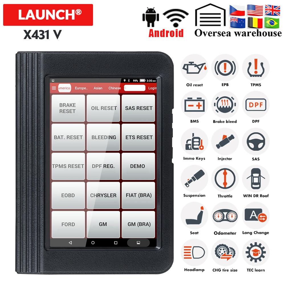 Launch X431 V Full System OBD2 Diagnostic Scanner Automotive OBDII ECU Coding 11 Reset Service X431V Car Code Scanner Pk MP808