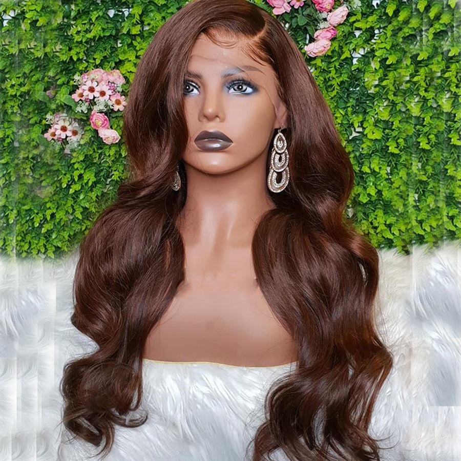 Transparent HD Lace Front Wig 13x6 Brown Coloured  Lace Front Human Hair Wigs For Women Brazilian Body Wave Wig 10-30 Remy