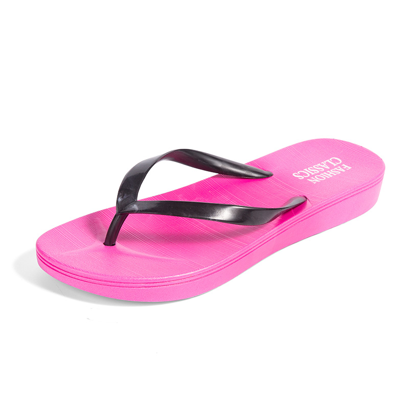 Womens Summer Slip-on Shoes Anti-slip Hard-wearing Fashion Leisure PVC Rubber Slippers Beach Swimming Indoor T-tied Flip Flops