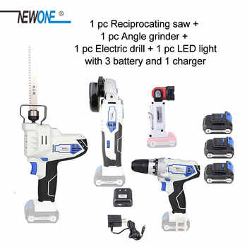NEWONE 12V power tool set Angle grinder Electric drill Electric Saw and Led light with three lithium battery and one charger - SALE ITEM - Category 🛒 Tools