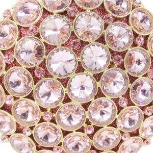 Image 3 - Boutique De FGG Socialite Hollow OUTรอบHardcaseผู้หญิงคริสตัลสีชมพูกระเป๋าสตางค์งานแต่งงานกระเป๋าถือคลัทช์กระเป๋า