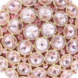 Image 3 - Boutique De FGG Socialite Hollow Out Round Hardcase Women Pink Crystal Evening Purse Wedding Party Prom Handbag Clutch Bag