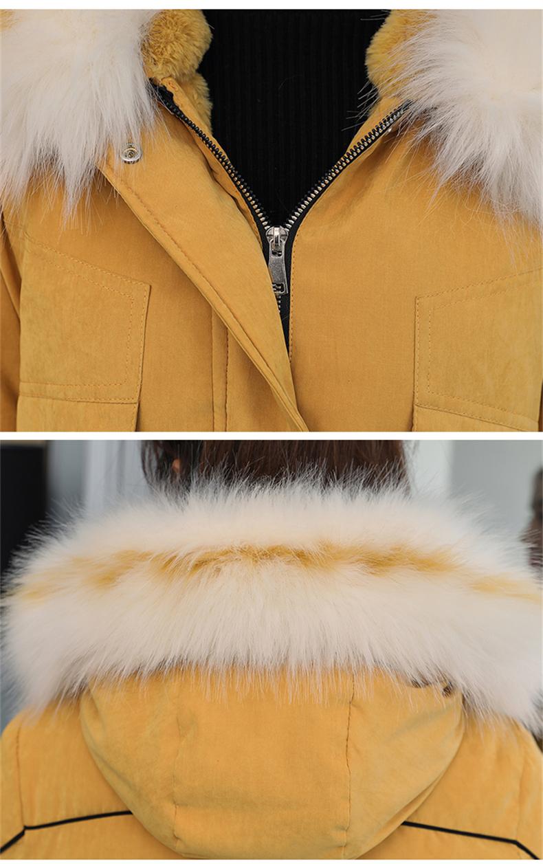 -30 градусов новый 2019 Для женщин зимняя куртка с капюшоном и меховой воротник Женская зимняя обувь Пальто Длинные парки с Меховая подкладка п... 33