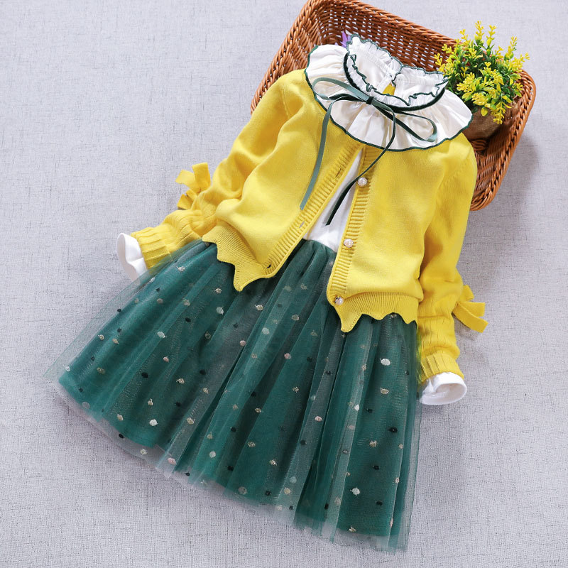 Baby Girl Clothing Set 2019 New Toddler Girls princess coat+Mesh Dress 2Pcs Suit for kids costumes children Clothes 2 4 5 8 Year