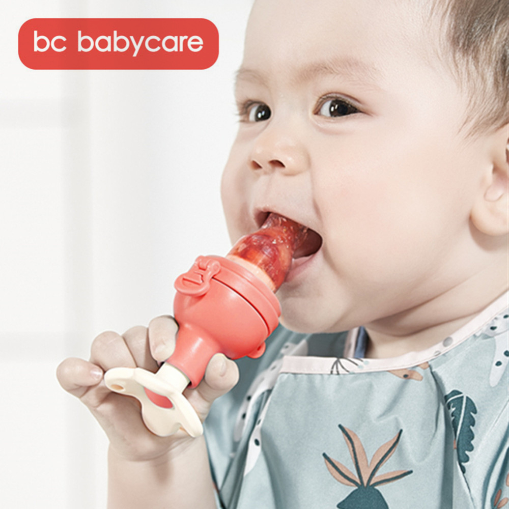 BC Babycare Vegetable Fruit Nibbler Screw Propulsion Baby Silicone Pacifier Infant Teething Toy Teether Safe Supplies Nipple