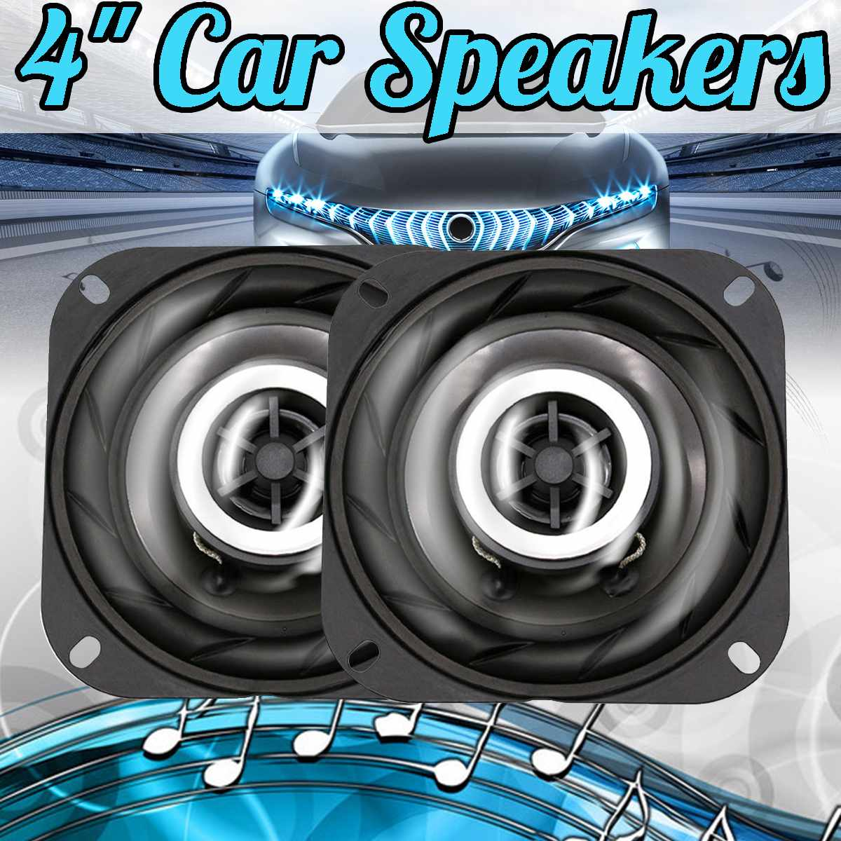 2 pces 4 polegada 150 w 12 v carro alto falante coaxial porta do veiculo auto