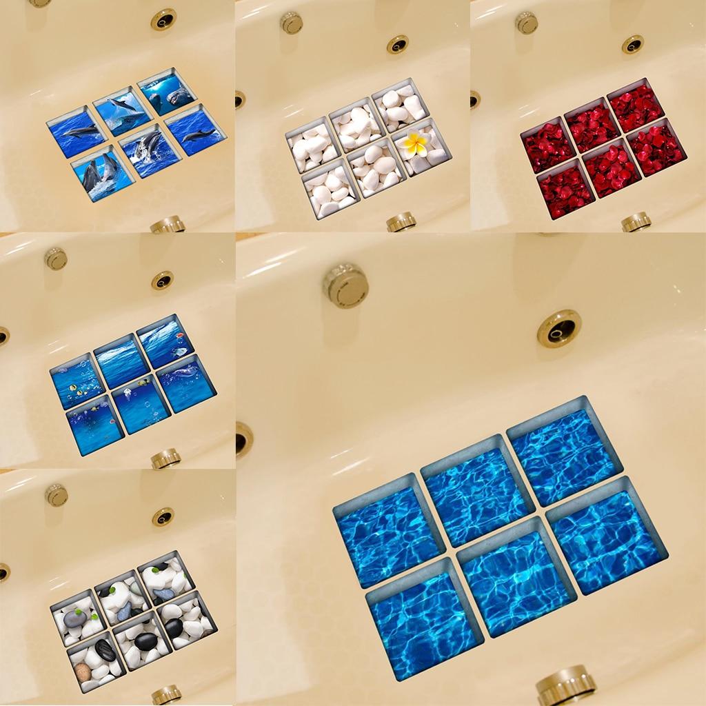 1 Set of 6 Pieces 3D Anti-slip Bath Tub Tattoos Bathtub Stickers Tub Decals Appliques PVC