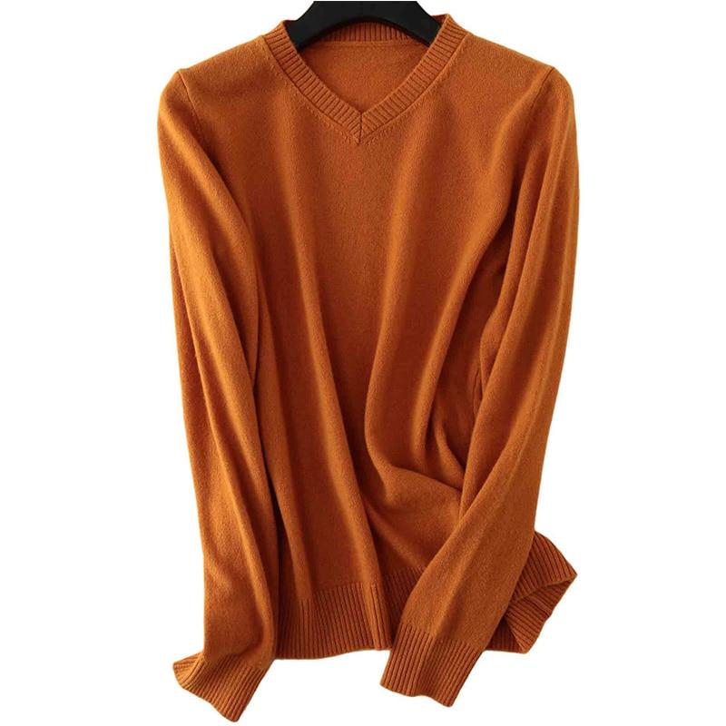 100% Merino Wool Women V-Neck Sweater 2020 Autumn Winter Warm Soft knitted Pullover Femme Jumper Women Cashmere Sweater 11