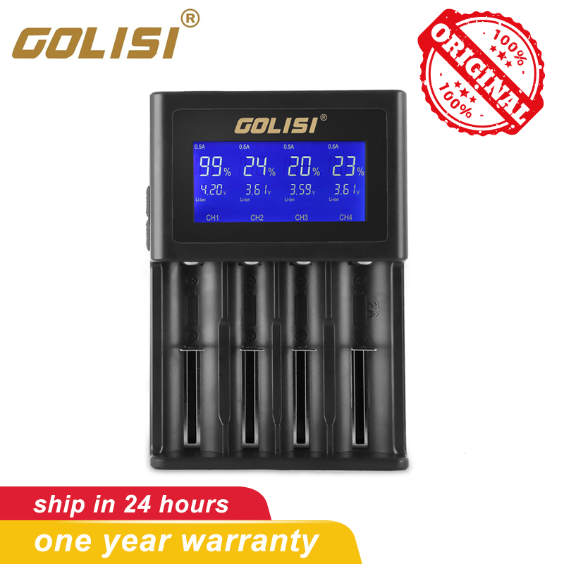 GOLISI S4 2A Charger For Li-ion Ni-MH Ni-Cd Ni-md 26650 18650 20700 21700 AA AAA Rechargeable Battery With Intelligent LCD