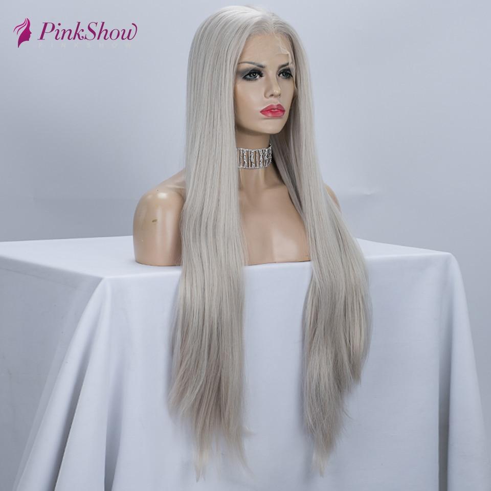 Pinkshow peruca cinza longo cabelo reto peruca