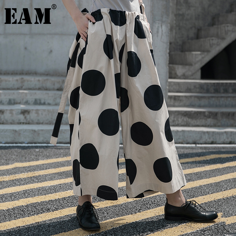 [EAM] High Elastic Waist Dot Printed Long Big Size Wide Leg Trousers New Loose Fit Pants Women Fashion Spring Summer 2020 1W04