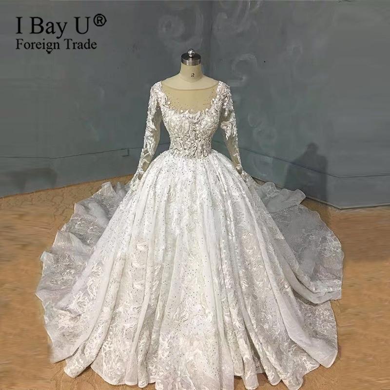 Real Work Wedding Dress 2020 Luxury Full Beading Wedding Dresses Long Sleeves New Bridal Dress noviasWedding Dresses   -
