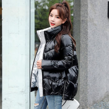 Lingwave Large Size Shiny Padded Cotton Jacket Women Winter Loose Casual Stand Collar Glossy Thick Warm Parkas Female
