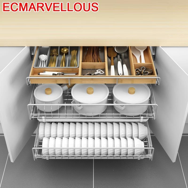 Organizador Cocina Kuchnia Accesorios Organizar Para Armario Stainless Steel Rack Organizer Kitchen Cabinet Storage Basket