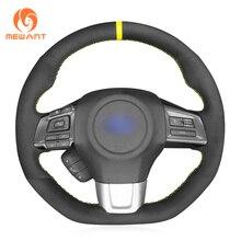 MEWANT Black Suede Hand Sew Soft Wrap Car Steering Wheel Cover For Subaru WRX (STI) 2015-2019