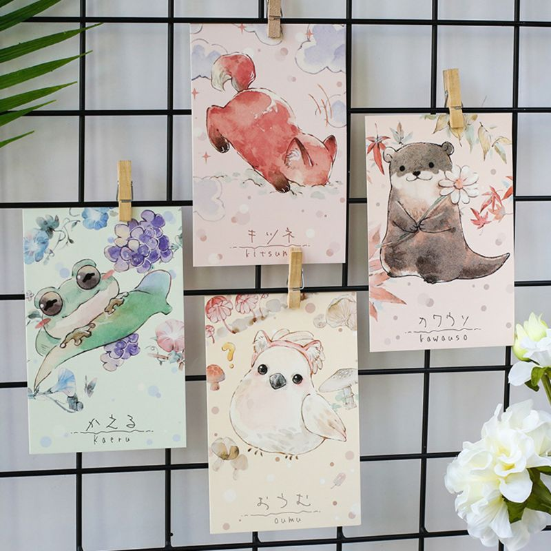 Boxed Postcards Soft Cute Small Courtyard, Hand-Painted Watercolor Literary Letter Lovers Greeting Card Animal Small Fresh Card