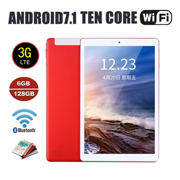 2020 WiFi Tablet PC 1920*1200 IPS Screen 10.1\ Inch Ten Core 6G+128G Android 7.1 Dual SIM Dual Camera Rear 5.0MP IPS