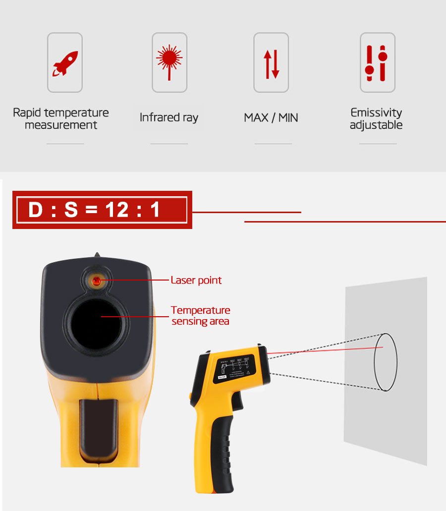 H7a02e7e123a145a28f83cef6bb4f5591G RZ IR Infrared Thermometer Thermal Imager Handheld Digital Electronic Outdoor Non-Contact Laser Pyrometer Point Gun Thermometer