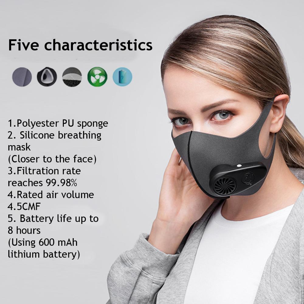 Smart Electric Mask Air Purifying Pollution Breathing Valve Earloop face Masks Anti-dust virus Safe PM2.5 protective mask 2