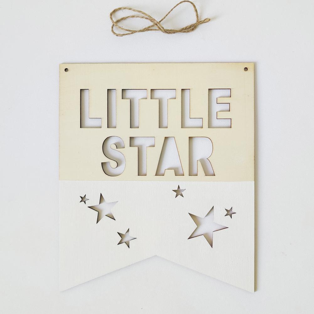 Nordic little star positive slogan banner wood chip wall hanging wreath baby child room decoration decoration photo props decor