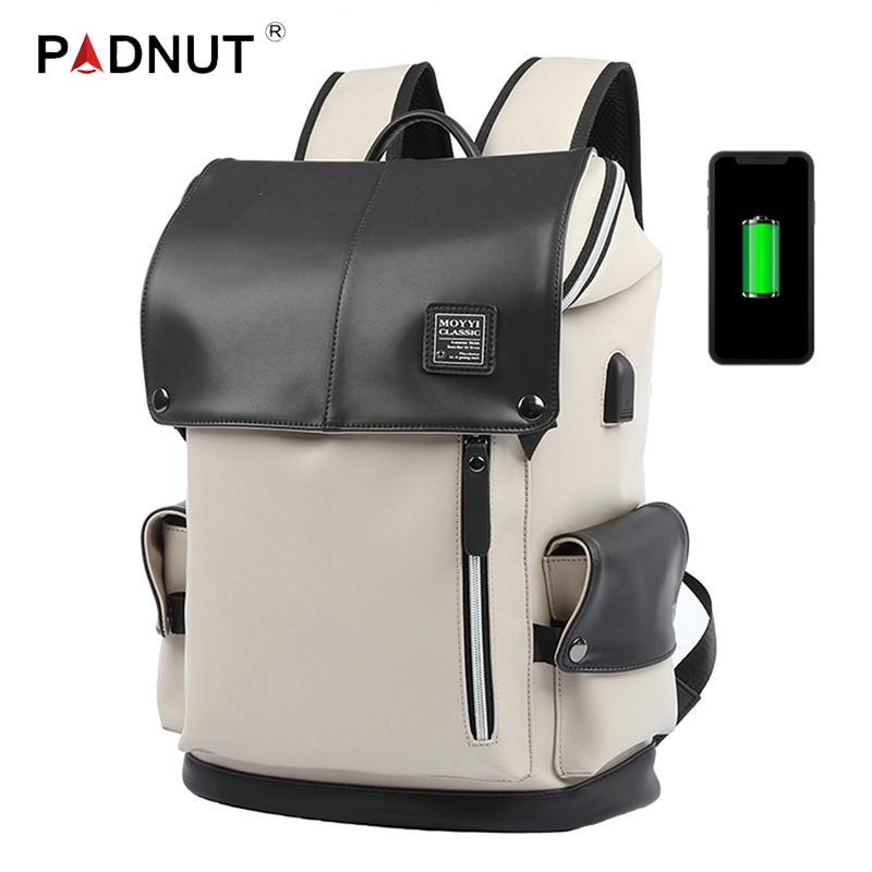 Leather Backpack PU Fashion Women Men Bagpack Waterproof USB Charging Bag School Back Pack Student Unisex Laptop 15.6 Inch Bags