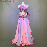 Belly Dance Competition Outfits Customized Bra Belt Colorfule Fishbone Skirt Set Oriental Indian Drum Dancing Performance Costum