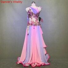 בטן ריקוד תחרות תלבושות מותאם אישית חזיית חגורת Colorfule אדרה חצאית סט מזרחי הודי תוף ריקוד ביצועים Costum