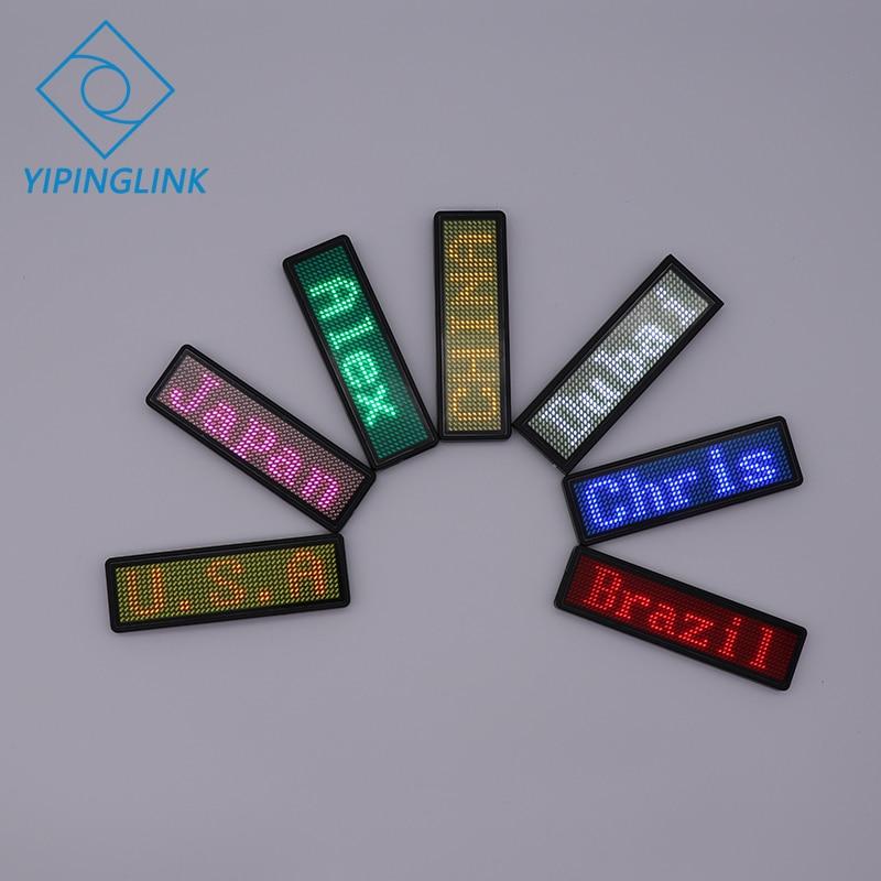 Pantalla digital led de desplazamiento con insignia de nombre programable 7 colores mini pantalla led para fiesta reunión evento de hotel restaurante
