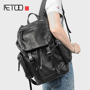 Image 1 - AETOO رئيس الجلود على ظهره ، والجلود ثنائية حقيبة ظهر تحمل على الكتف ، والجلود الذكور حقيبة السفر