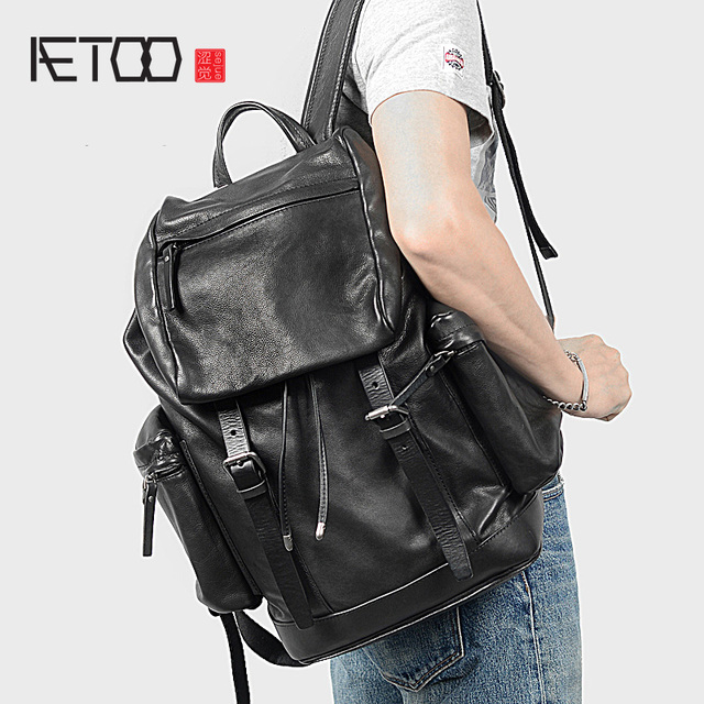 AETOO رئيس الجلود على ظهره ، والجلود ثنائية حقيبة ظهر تحمل على الكتف ، والجلود الذكور حقيبة السفر