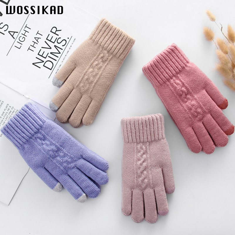Women Gloves Winter Knitting Wool Touch Screen Increase Guantes Invierno Mujer Thickening Keep Warm Driving Gloves Luvas Modis Cute Luvas De Inverno Guantes Invierno  Guantes Mujer Moda Invierno 2019