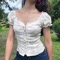 Женская рубашка с глубоким v-образным вырезом на груди  короткий рукав  перфорированная Кружевная блуза с пышными рукавами  женские Рубашки ...